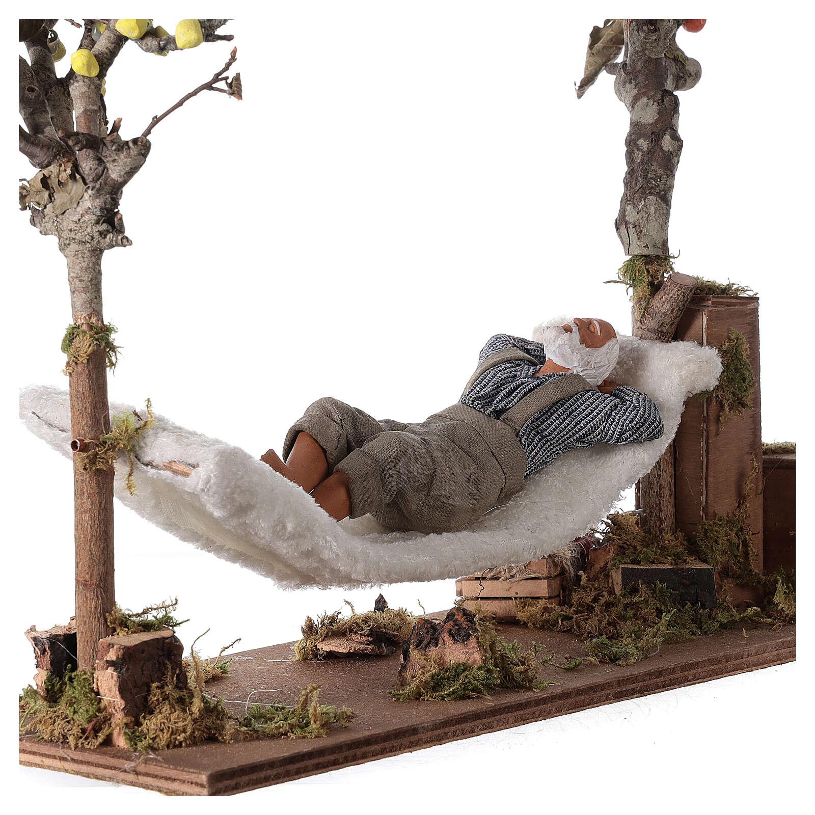 Homem na rede de dormir movimento presépio napolitano com figuras altura média 14 cm 4