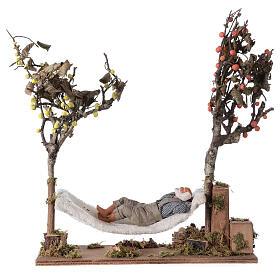Homem na rede de dormir movimento presépio napolitano com figuras altura média 14 cm s1