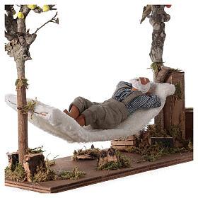 Homem na rede de dormir movimento presépio napolitano com figuras altura média 14 cm s2