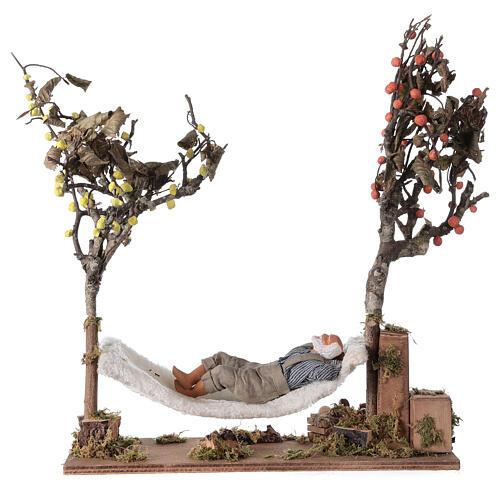 Homem na rede de dormir movimento presépio napolitano com figuras altura média 14 cm 1