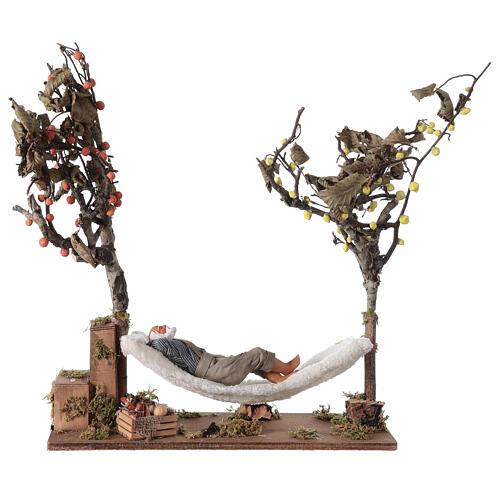 Homem na rede de dormir movimento presépio napolitano com figuras altura média 14 cm 5