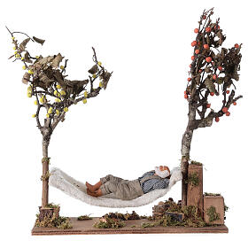 Man on hammock, animated Neapolitan nativity 14 cm s1