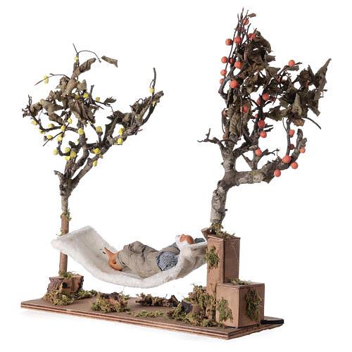 Man on hammock, animated Neapolitan nativity 14 cm 4