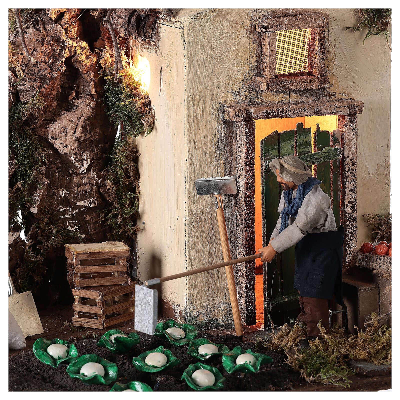 Mouvement agriculteur avec potager crèche Naples 12 cm 4