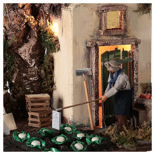Mouvement agriculteur avec potager crèche Naples 12 cm 2