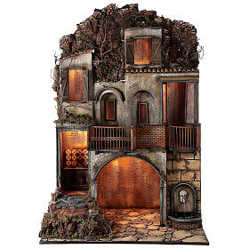 Village with stable and fountain 135x40x60 cm Neapolitan Nativity Scene with 24-30 cm figurines s1