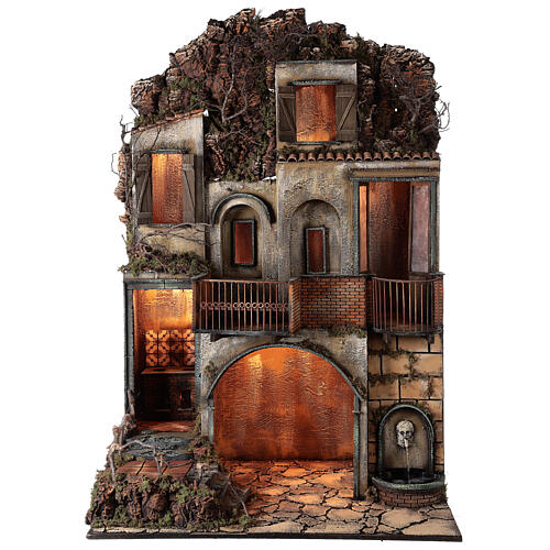 Village with stable and fountain 135x40x60 cm Neapolitan Nativity Scene with 24-30 cm figurines 1
