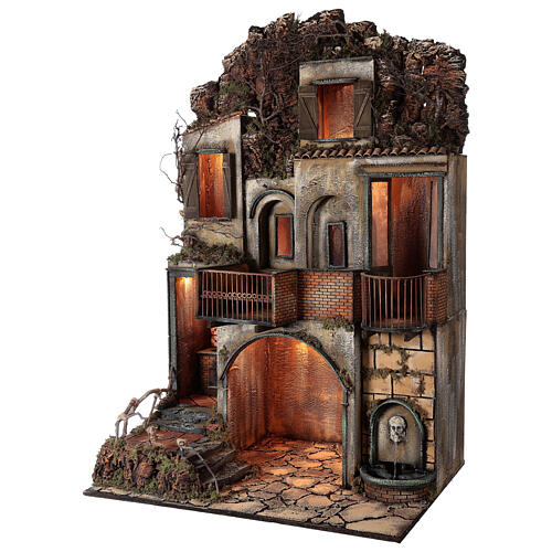 Village with stable and fountain 135x40x60 cm Neapolitan Nativity Scene with 24-30 cm figurines 3