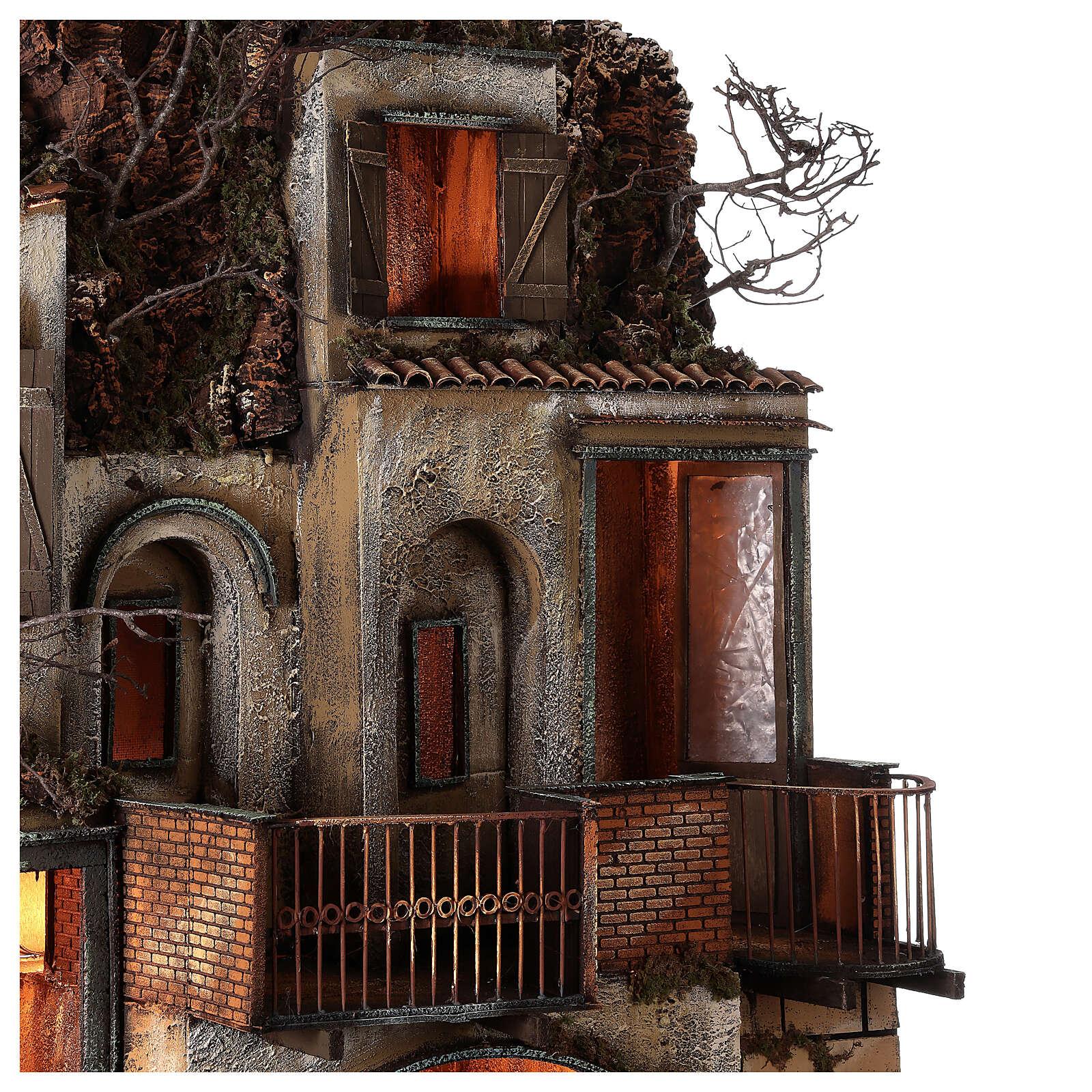 Aldeia com estábulo e fonte para presépio napolitano com figuras de altura média 24-30 cm, medidas: 135x40x60 cm 4