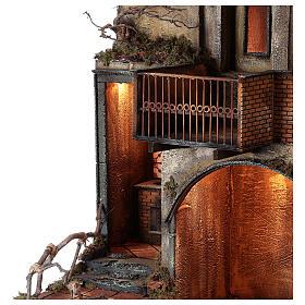 Aldeia com estábulo e fonte para presépio napolitano com figuras de altura média 24-30 cm, medidas: 135x40x60 cm s4