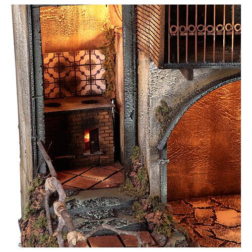 Aldeia com estábulo e fonte para presépio napolitano com figuras de altura média 24-30 cm, medidas: 135x40x60 cm 2