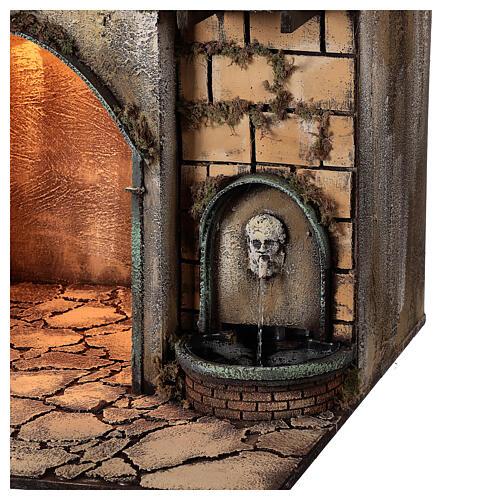 Aldeia com estábulo e fonte para presépio napolitano com figuras de altura média 24-30 cm, medidas: 135x40x60 cm 5