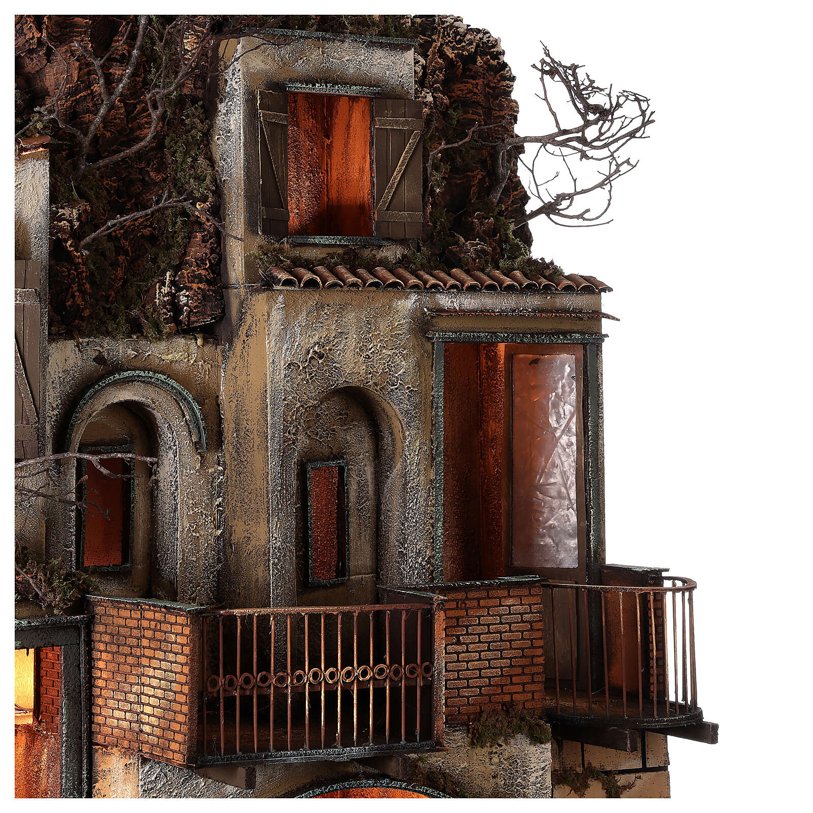 Village with stable and fountain 135x40x60 cm Neapolitan Nativity Scene with 24-30 cm figurines 4
