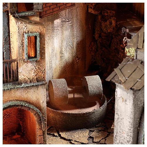 Village semi-circulaire napolitain meule 115x80x60 cm crèche 10-13 cm 2