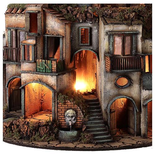 Village semi-circulaire napolitain meule 115x80x60 cm crèche 10-13 cm 9