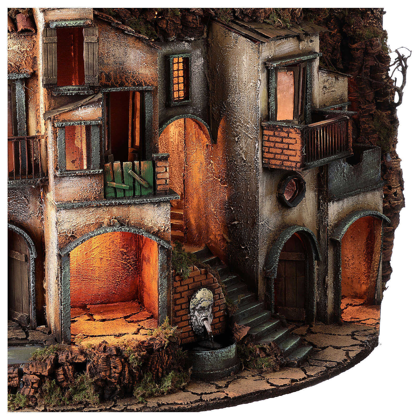 Semicircular village with millstone 115x80x60 cm for Neapolitan Nativity Scene with 10-13 cm figurines 4