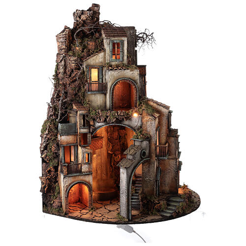 Semicircular village with millstone 115x80x60 cm for Neapolitan Nativity Scene with 10-13 cm figurines 3