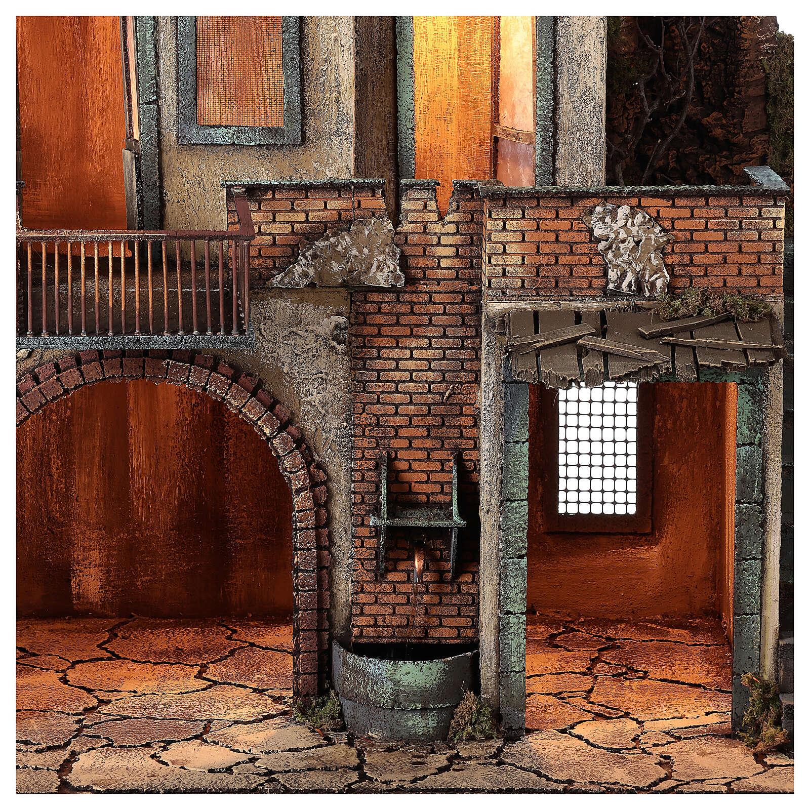 Farmhouse with balcony and electric fountain 80x70x50 cm for Neapolitan Nativity Scene with 14 cm figurines 4