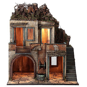 Farmhouse with balcony and electric fountain 80x70x50 cm for Neapolitan Nativity Scene with 14 cm figurines s1