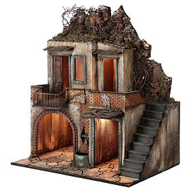 Farmhouse with balcony and electric fountain 80x70x50 cm for Neapolitan Nativity Scene with 14 cm figurines s3