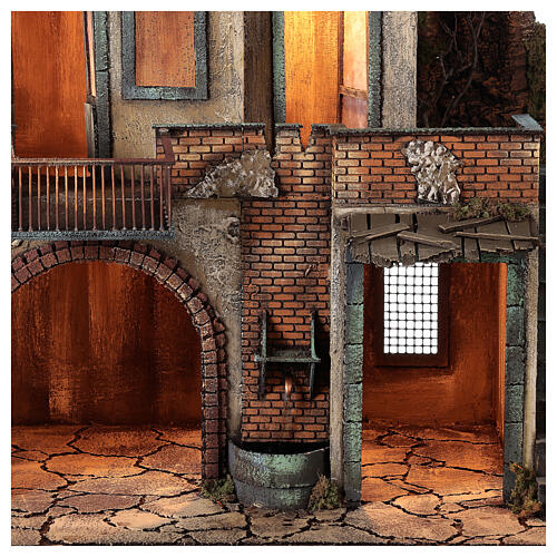 Casa de campo com fonte de água funcionante para presépio napolitano com figuras de altura média 14 cm, medidas 80x70x50 cm 2