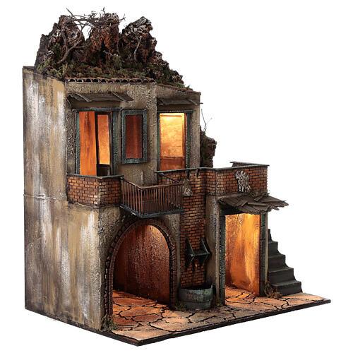 Casa de campo com fonte de água funcionante para presépio napolitano com figuras de altura média 14 cm, medidas 80x70x50 cm 4