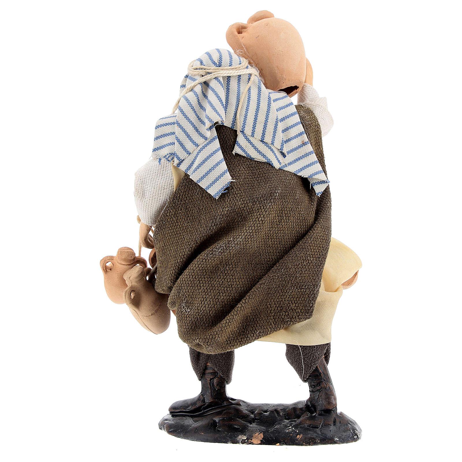 Uomo con anfore statua terracotta 12 cm presepe napoletano 4