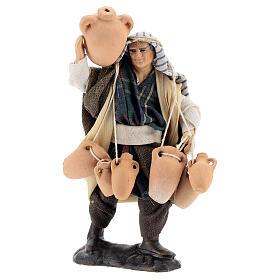 Uomo con anfore statua terracotta 12 cm presepe napoletano s1
