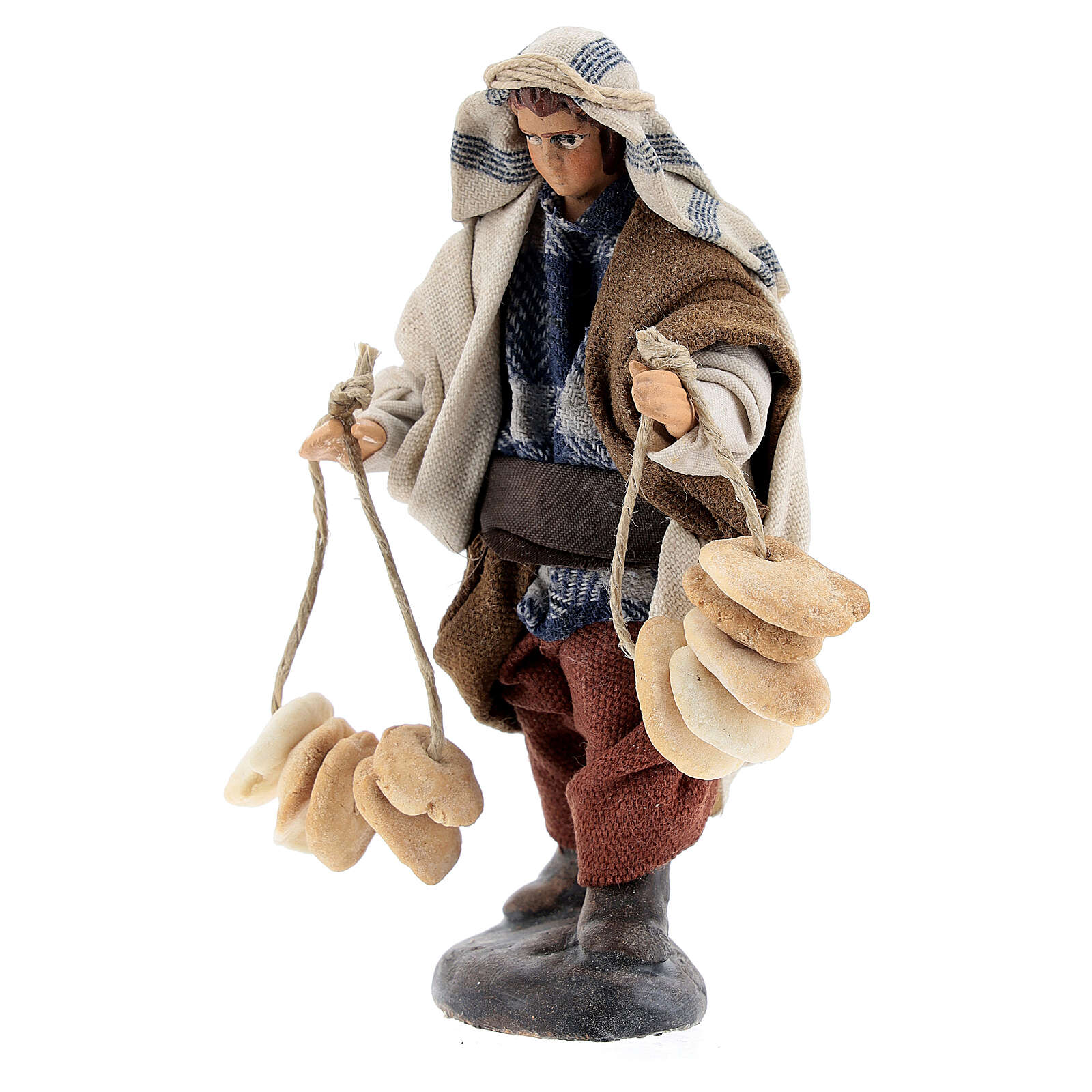 Statue man selling freselle bread, 12 cm Neapolitan nativity terracotta cloth 4