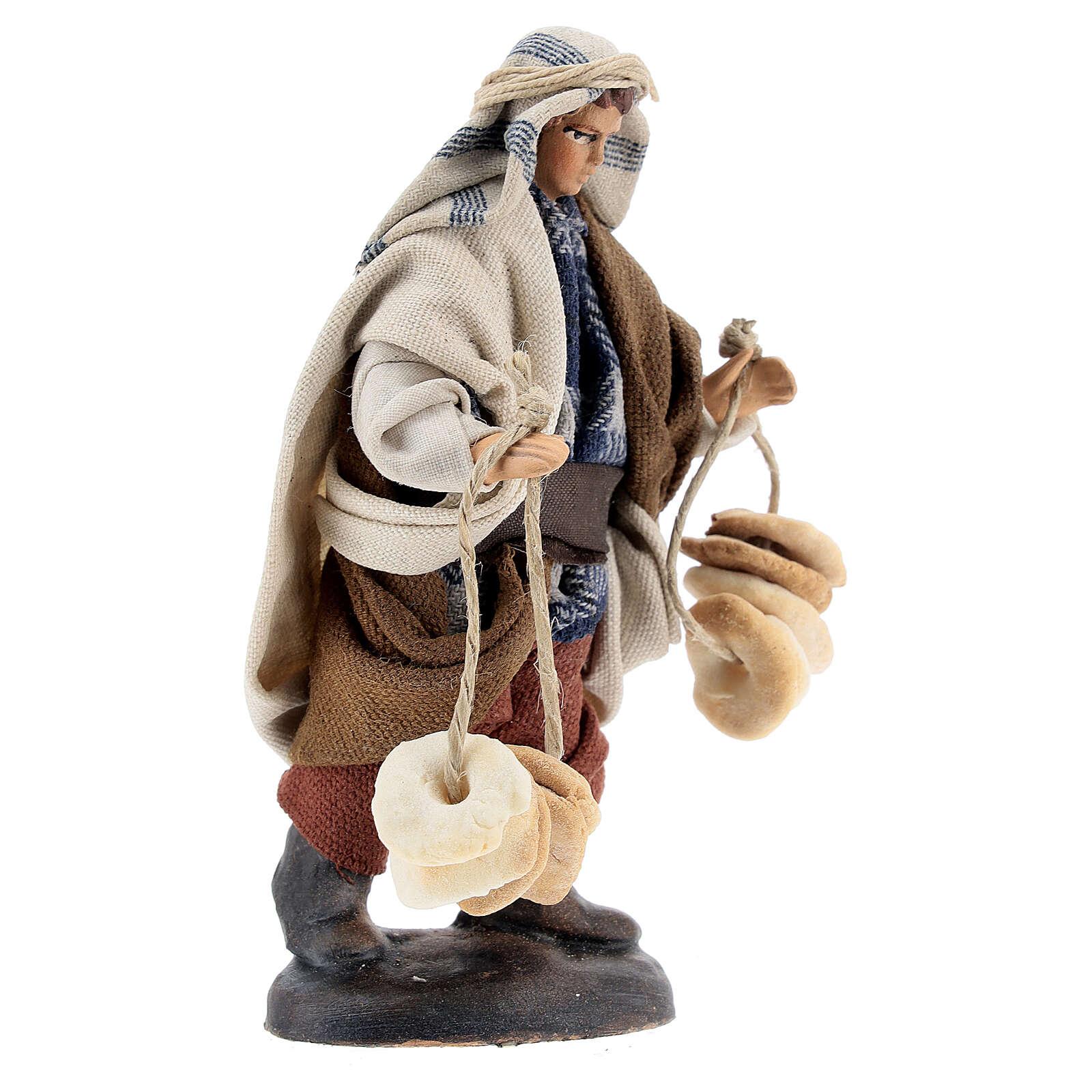 Statue man selling freselle bread, 12 cm Neapolitan nativity terracotta cloth 4