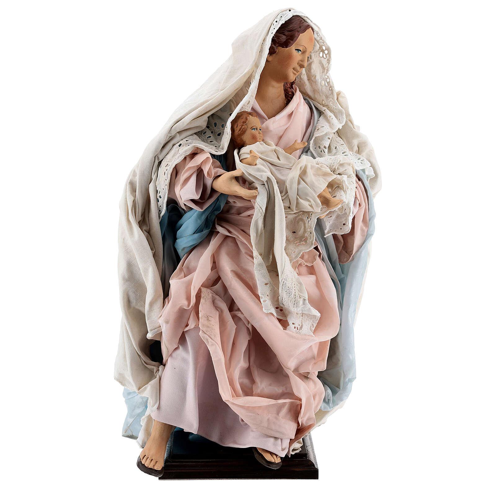 Statue Vierge à l'Enfant crèche napolitaine terre cuite 50 cm 4