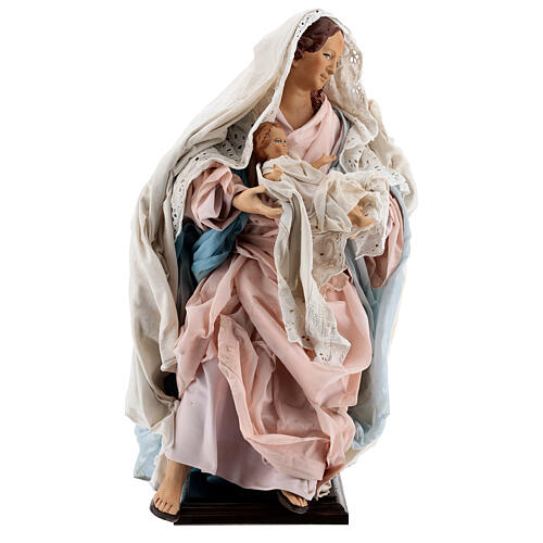 Statue Mary Baby Jesus, terracotta Neapolitan nativity 50 cm 1