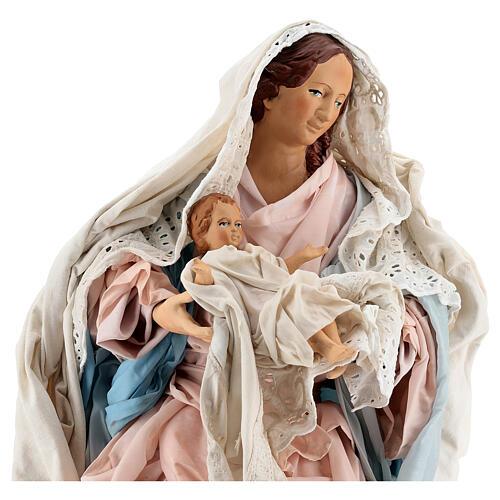 Statue Mary Baby Jesus, terracotta Neapolitan nativity 50 cm 2