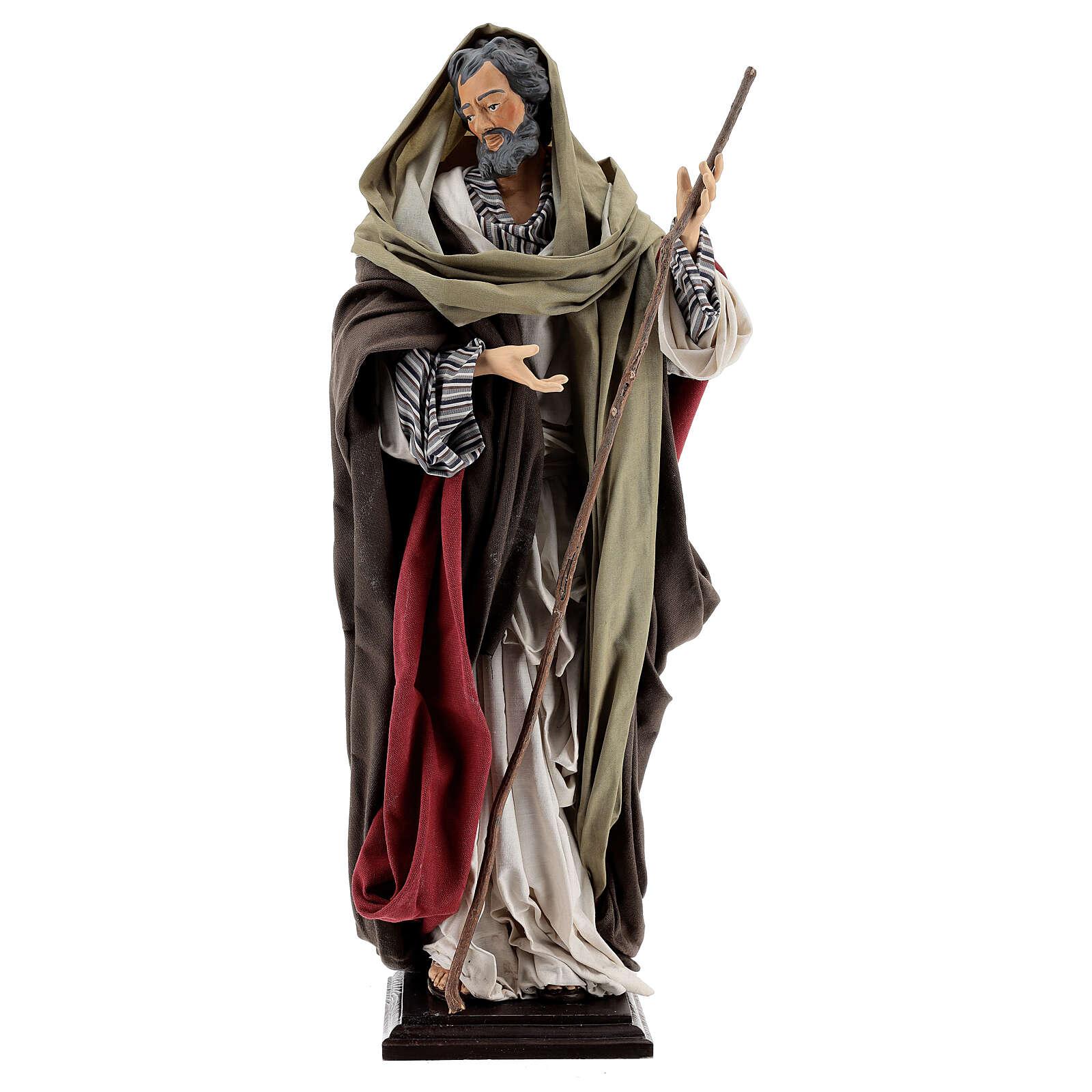 St Joseph statue, terracotta Neapolitan nativity 50 cm 4