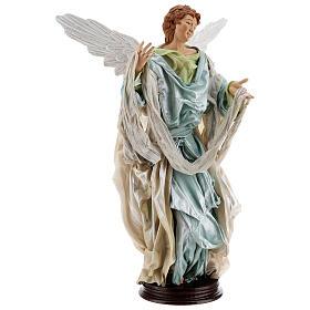 Blonde angel, Neapolitan nativity 45 cm terracotta cloth pedestal s3