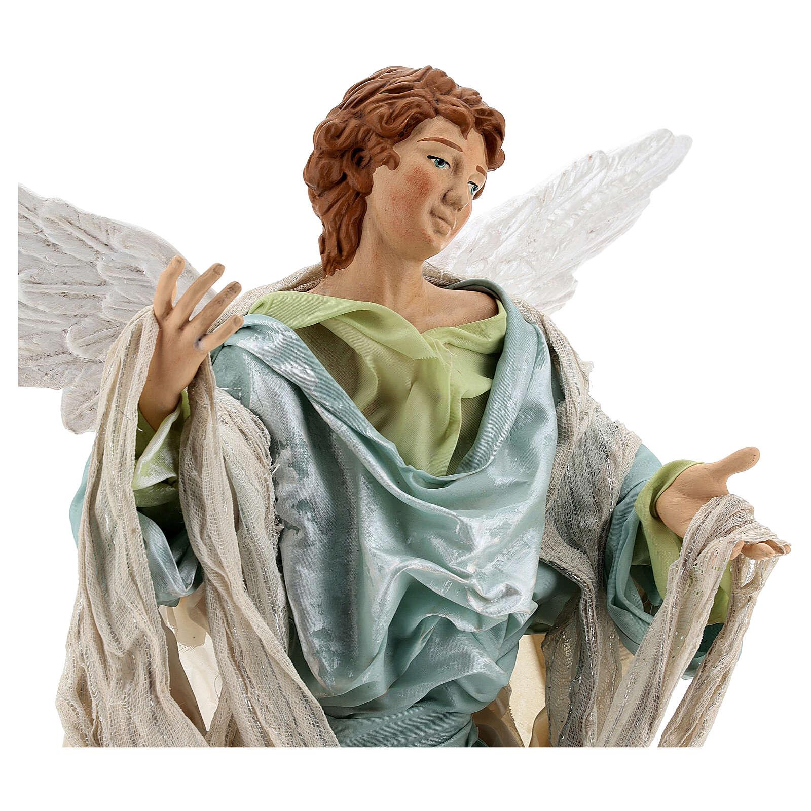 Anjo louro com base terracota e tecido para presépio napolitano com figuras de altura média 45 cm 4