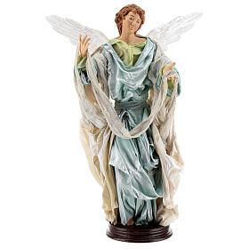 Anjo louro com base terracota e tecido para presépio napolitano com figuras de altura média 45 cm s1