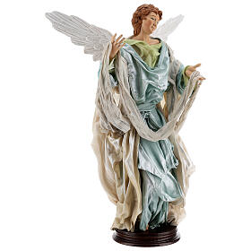 Anjo louro com base terracota e tecido para presépio napolitano com figuras de altura média 45 cm s3