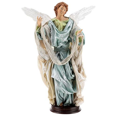 Anjo louro com base terracota e tecido para presépio napolitano com figuras de altura média 45 cm 1