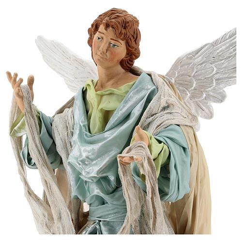 Anjo louro com base terracota e tecido para presépio napolitano com figuras de altura média 45 cm 2