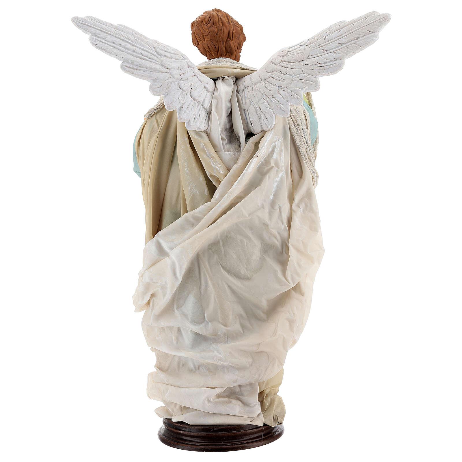 Blonde angel, Neapolitan nativity 45 cm terracotta cloth pedestal 4
