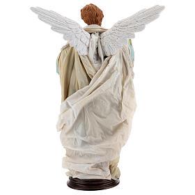 Blonde angel, Neapolitan nativity 45 cm terracotta cloth pedestal s6