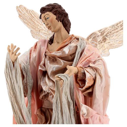 Moor angel on wood pedestal 45 cm terracotta Neapolitan Nativity Scene 2