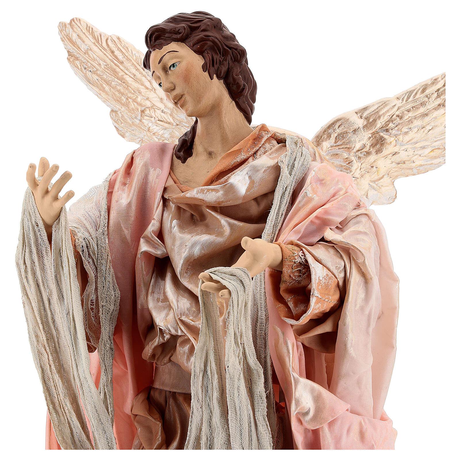 Anjo cabelo castanho com base terracota e tecido para presépio napolitano com figuras de altura média 45 cm 4