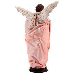Anjo cabelo castanho com base terracota e tecido para presépio napolitano com figuras de altura média 45 cm s6