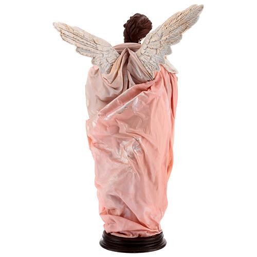 Anjo cabelo castanho com base terracota e tecido para presépio napolitano com figuras de altura média 45 cm 6