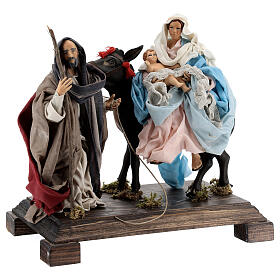 Flight into Egypt statue terracotta glass eyes 20 cm Neapolitan nativity wooden base s3