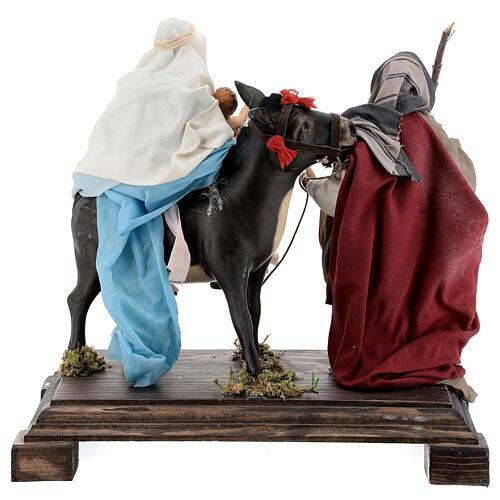 Flight into Egypt statue terracotta glass eyes 20 cm Neapolitan nativity wooden base 6