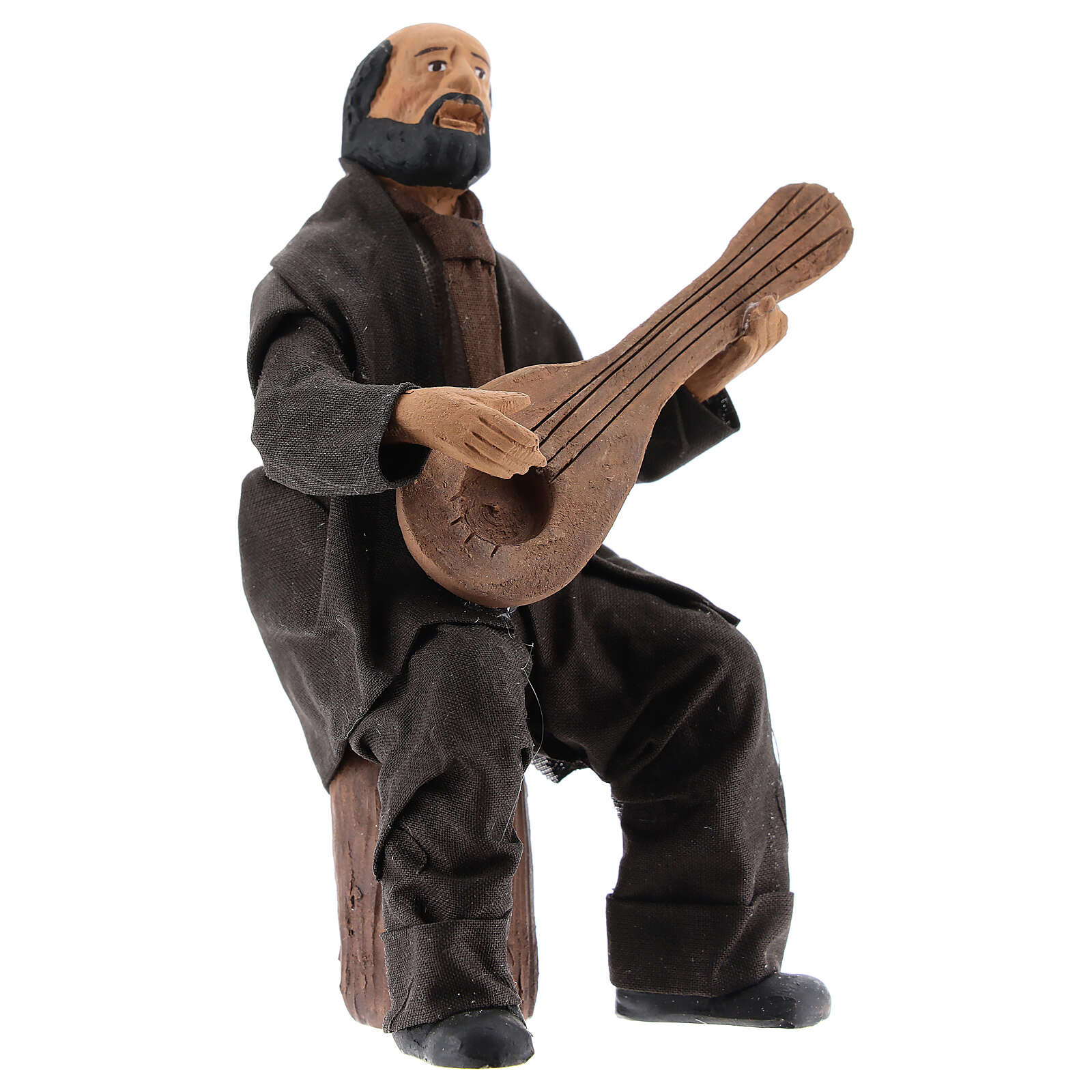 Músico sentado com bandolim para presépio napolitano com figuras de altura média 13 cm 4