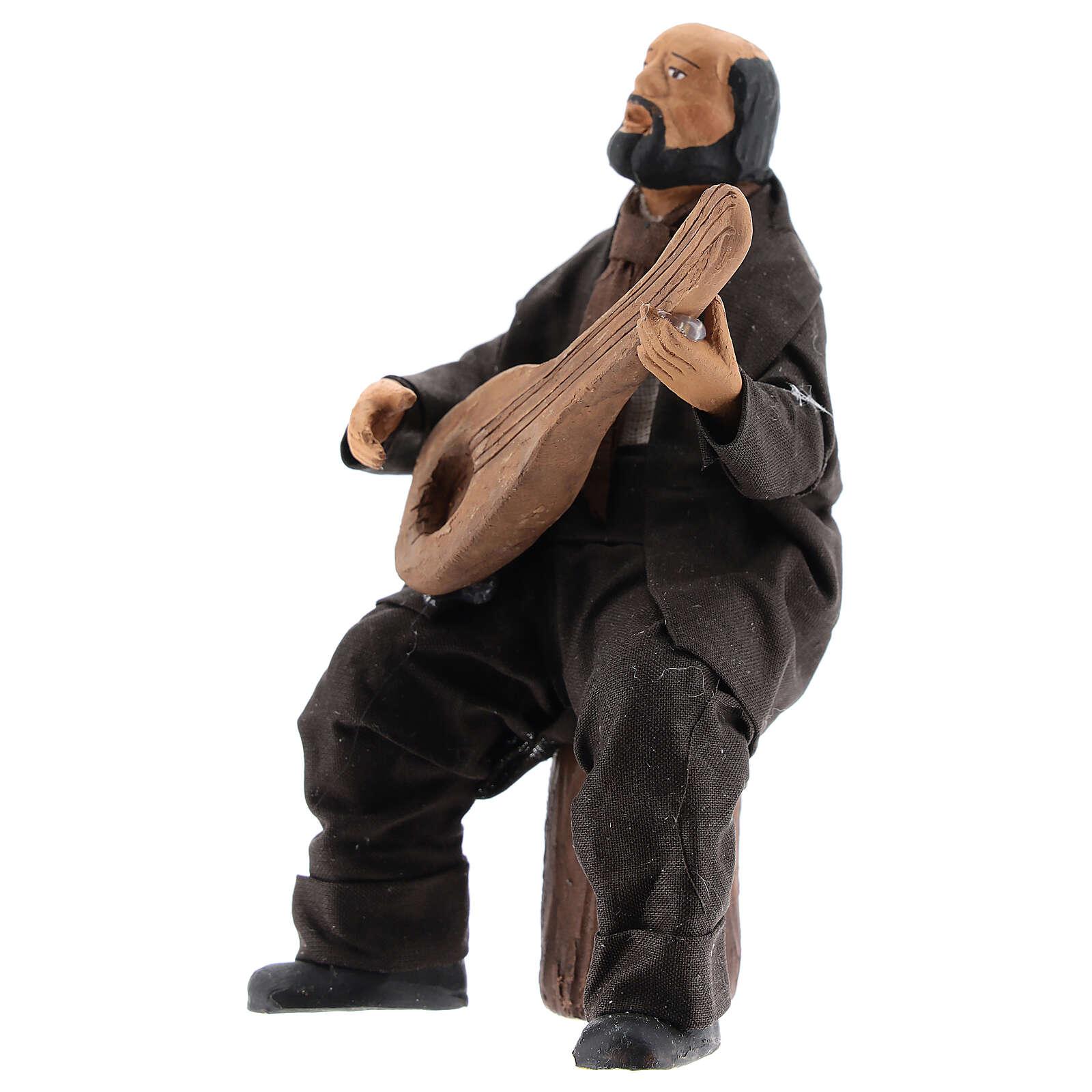 Man sitting with mandolin statue 13 cm Neapolitan nativity 4